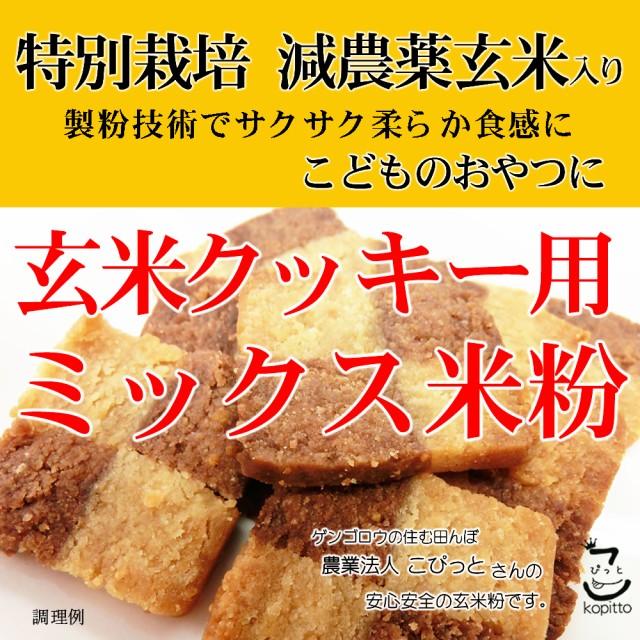 玄米クッキー用 ミックス米粉 (特別栽培米 山梨県産コシヒカリ 使用) 900g 長期保存包装 (投函便・メール便 送料無料)