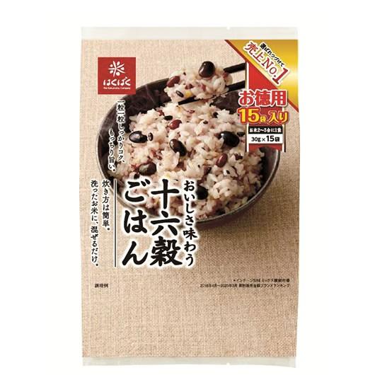 はくばく 十六穀ごはん お徳用 1ケース(30gx15袋入りが6袋分)16種類の雑穀をおいしく配合♪