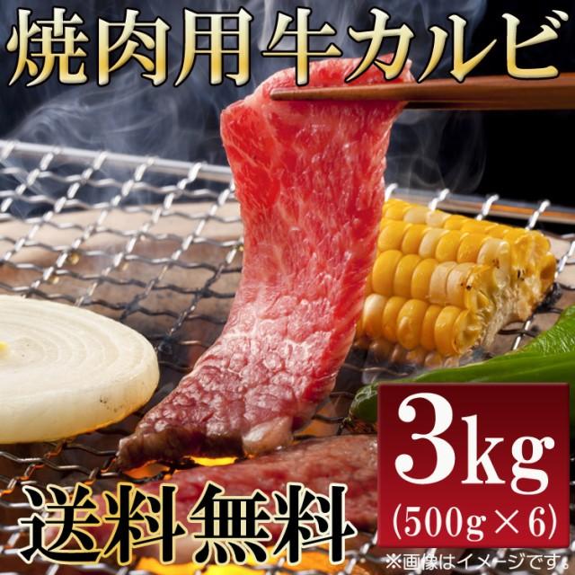 【送料無料】数量限定入荷!!飲食店御用達 焼肉用牛カルビ3kg(500g×6パック)/牛ばら肉/牛バラ肉