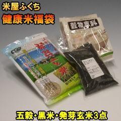 送料無料 健康米福袋 お米と一緒に炊いて毎日元気 発芽玄米 五穀米 黒米の3点セット 免疫力向上 ギフト 贈り物 同梱にも
