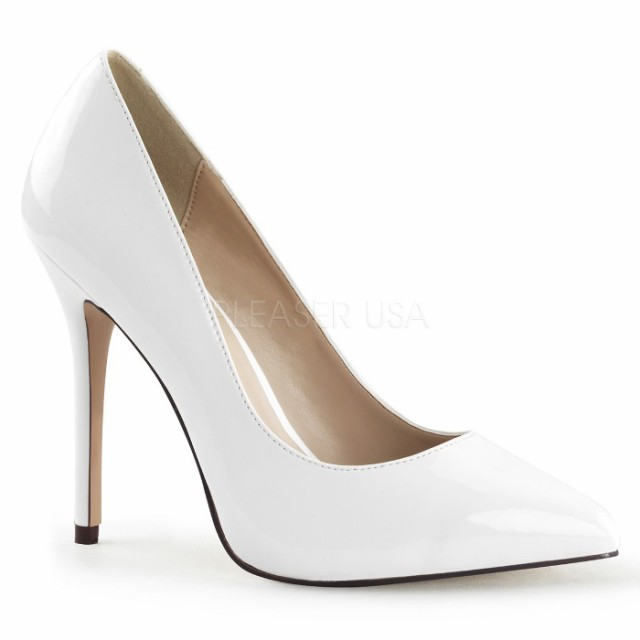 6a8e8339fb918e 取寄せ靴 送料無料 ポインテッドトゥ ハイヒールパンプス 12.5cmヒール 白 ホワイト エナメル 大きい
