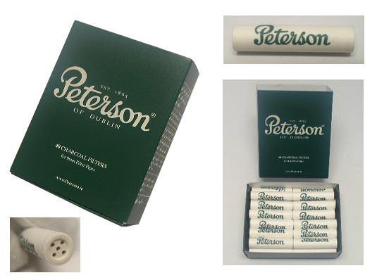 送料140円〜Peterson(ピーターソン)9mmフィルター チャコール活性炭 40個入り(1箱) 対応 パイプ9mmダボ シガレットホルダー9mm