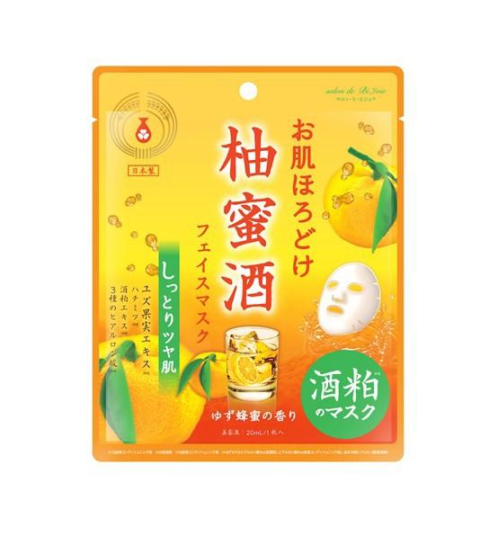 BJお肌ほろどけフェイスマスク 柚蜜酒 HDM202 日本製 ゆず蜂蜜の香り 美容 ビューティー グッズ フェイス パック マスク しっとり ツヤ