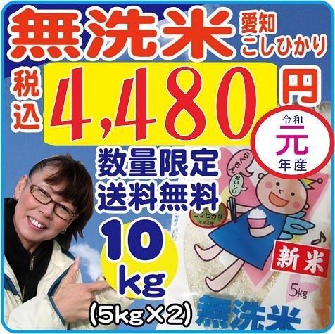 【送料無料】令和1年産無洗米こしひかり 白米10kg(キロ)