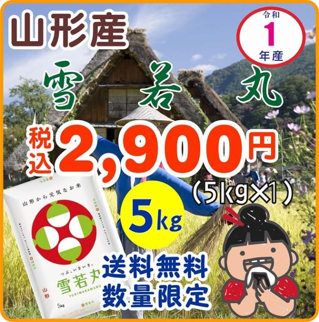 【送料無料】1年産山形産雪若丸 白米5kg×1