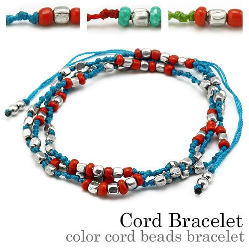 全3色 カラーコードビーズブレスレット ブルー レッド グリーン ネックレス 細め 重ね付け ブレス メンズ bab-2105