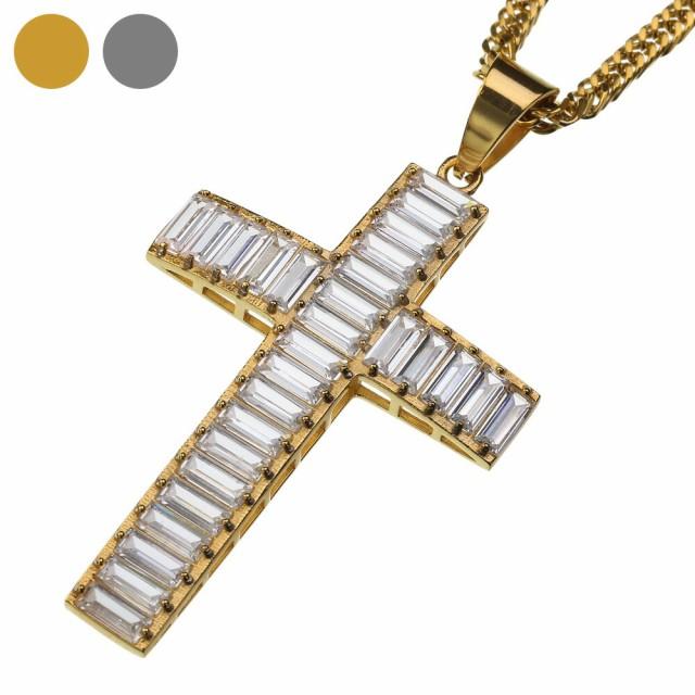 スリム ジルコニア クロス ペンダント (トップのみ) ネックレス メンズ 十字架 ヒップホップ HIPHOP B系 bassp-0174-top