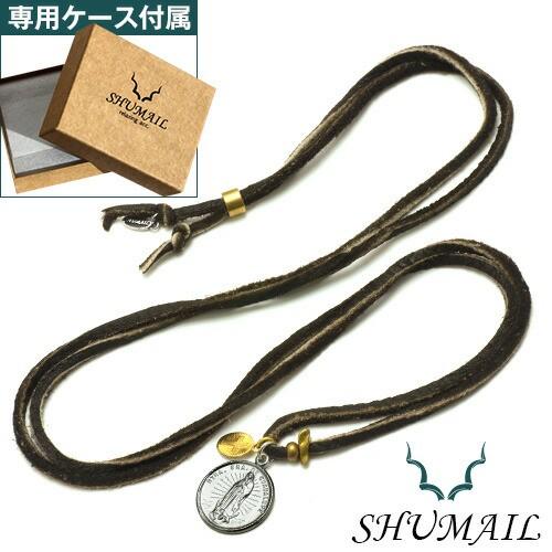 SHUMAIL(シュメール) クロスチャームマリアコインペンダントレザーネックレス ブランド アクセサリー ペンダント ネックレス メンズ ブラ