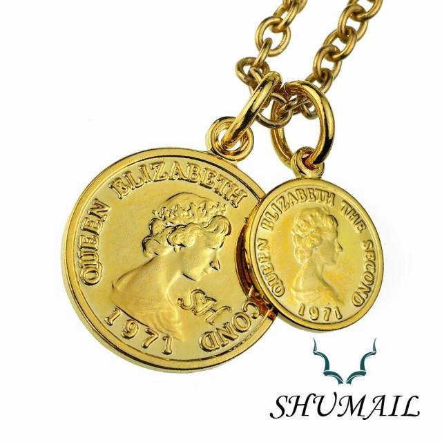 SHUMAIL(シュメール) ネックレス メンズ ダブル ゴールド コイン ペンダント シンプル ブランド ステンレススチール316L PVD アクセサリ