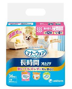 【ユニチャーム】マナーウェア ペット用紙オムツ SSSサイズ 36枚