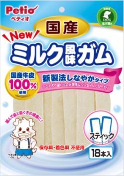 【ペティオ】NEW 国産ミルク風味ガム スティック 18本入x30個(ケース販売)
