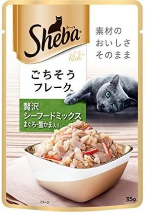 【マースジャパン】シーバリッチ 成猫用 贅沢シーフードミックス まぐろ・蟹かま入り 35gx96個(ケース販売)