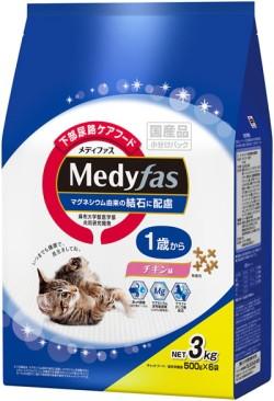 お届け地区限定【ペットライン】メディファス 1歳から チキン味 3kgx4個(ケース販売)