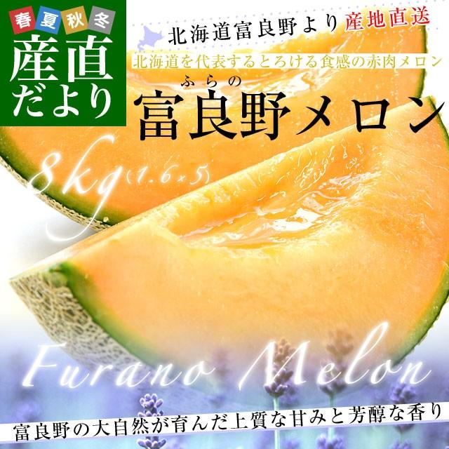 北海道より産地直送 富良野メロン 赤肉 約8キロ (大玉5玉から6玉) (1玉1.3キロから1.6キロ) ふらのめろん レッド 送料無料 産直だより