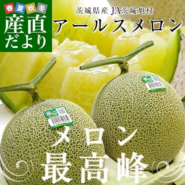 茨城県 JA茨城旭村 アールスメロン 糖度13度以上 約3キロ (大2玉) 送料無料 めろん 市場スポット 産直だより