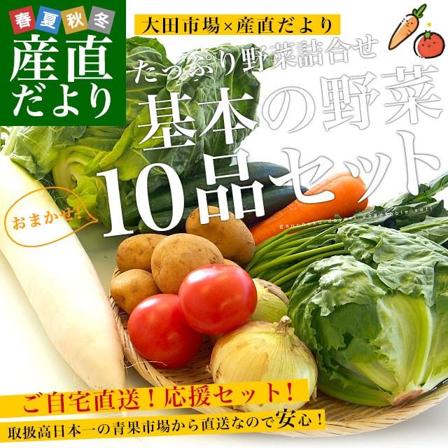 市場からご自宅へ直送 たっぷり野菜詰め合わせ 応援セット (国産おまかせ野菜10品セット)