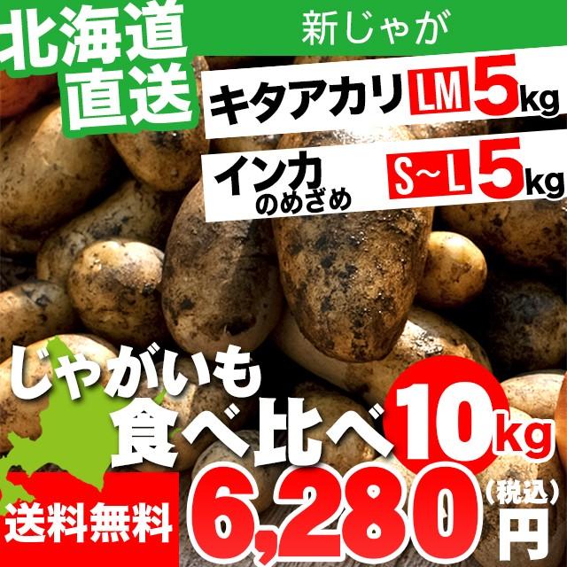 今季出荷開始! 新じゃがいも 送料無料 北海道産 じゃがいも食べ比べセット 10kg(キタアカリ・インカのめざめ各5kg) / 10キロ 10kg