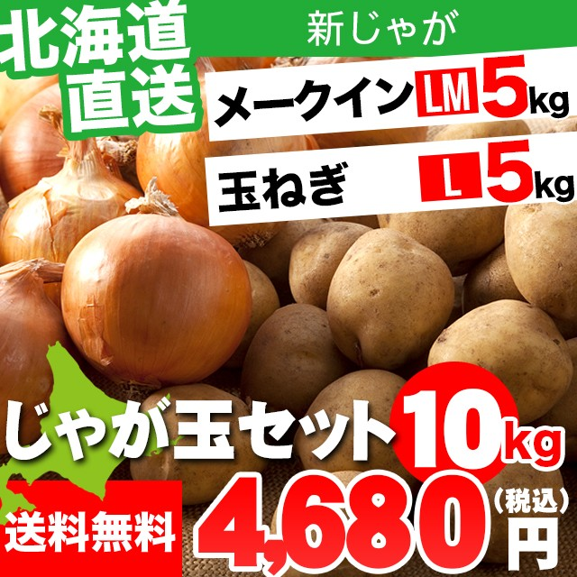 今季出荷開始! 新じゃがいも 北海道産 北海道産 じゃが玉セット メークイン 5kg(LMサイズ)&玉ねぎ5kg(Lサイズ) 合計10kg / 10キロ