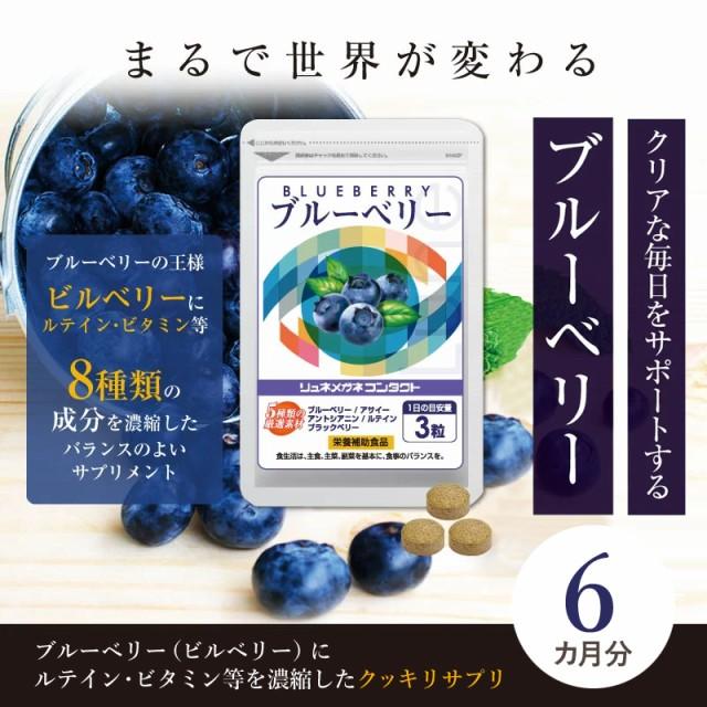 ブルーベリー (約6ヶ月分) ルテイン ・ ビタミンB12.B1.B6配合。(90粒入/1袋 ×6袋) 新聞・読書がお好きな方に。パソコンやスマホの使