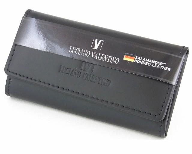 [定形外郵便発送] 【箱無し】 メンズ 定番 キーリング サラマンダーボンデッドレザーLUCIANO VALENTINO(L-バレンチノ) キーケース 黒 [lu