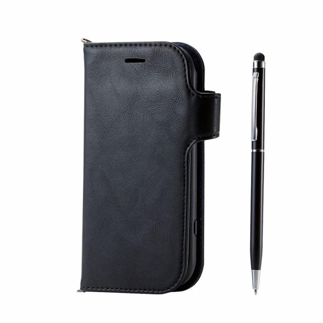 6256711c27 らくらくスマートフォンme F-01L 手帳型ケース ブラック タッチペン ボールペン スタンド 衝撃吸収 マグネット