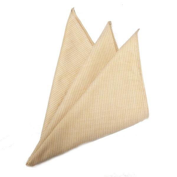 高級オーダーシャツ生地使用ポケットチーフ・バナナイエロー織柄ポケットスクウェア