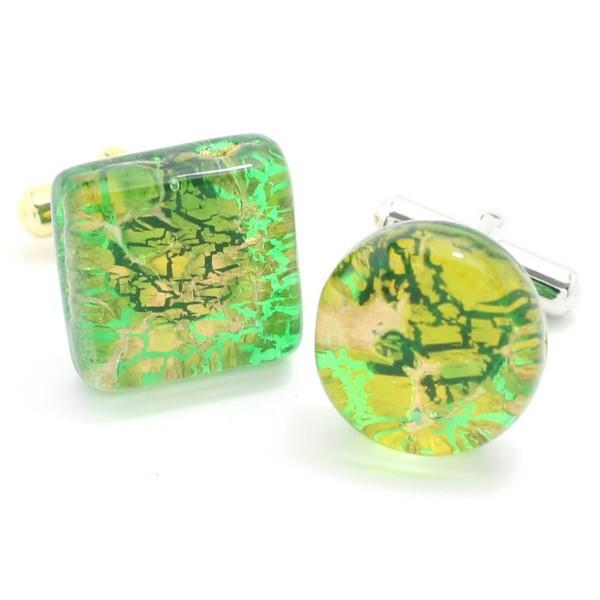 全4種・ムラーノ・ベネチアンガラス・ゴールド×グリーンのカフス(カフスボタン/カフリンクス)