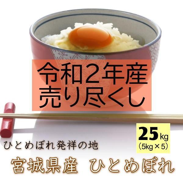 【売り尽くし/令和2年産】 米 25kg 送料無料 宮城県 登米産 ひとめぼれ 無洗米 25kg (5kg×5袋) 産地直送 清流米ポリ袋 小分け仕様