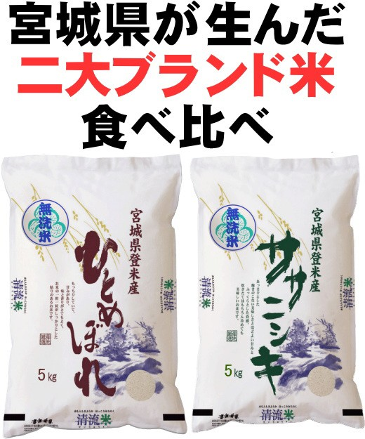 【新米】 極上 食べ比べ 送料無料 令和2年産 宮城県 登米産 ひとめぼれ ササニシキ 無洗米 10kg (各5kg×1袋) 高級感 和紙袋仕様