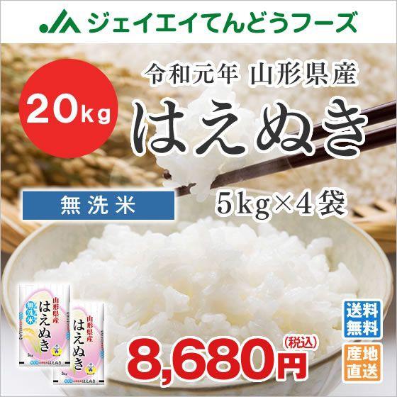 米 お米 令和元年 新米 山形県産 はえぬき 無洗米 20kg(5kg×4袋) rhm2001 時短 産地直送 ギフト 【お手軽、便利な無洗米】