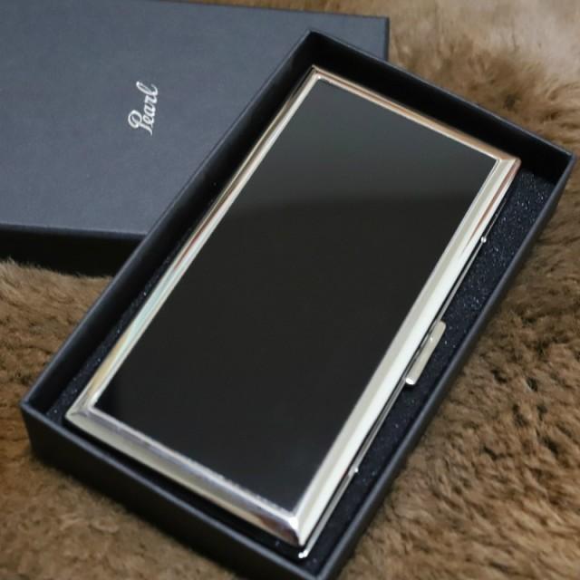 【PEARL】真鍮製 薄型たばこケース6本専用 シガレットケース ブラックパネル 人気ブランド シンプル タバコケース リリースリム カッコイ