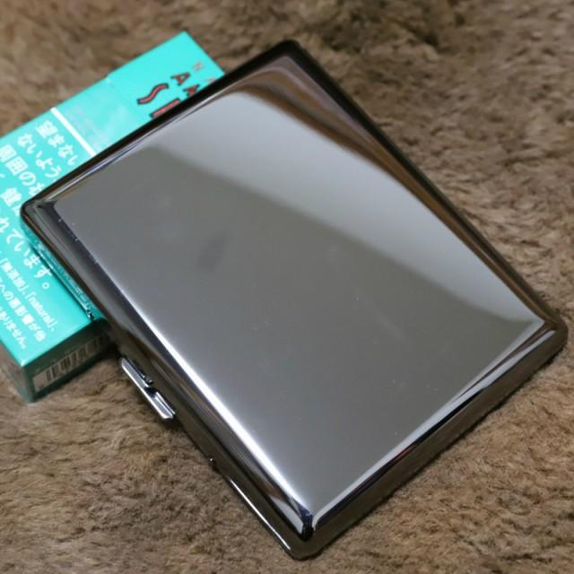 【PEARL】カジュアル メタル シガレットケース ブラック 100mm ブランド たばこケース メタル 20本 丈夫 人気 ブランド ロング煙草ケ