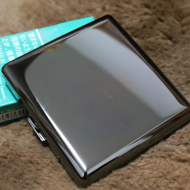 【PEARL】カジュアル メタル シガレットケース ブラック85mm ブランド たばこケース メタル 20本 丈夫 人気 ブランド 煙草ケース 黒