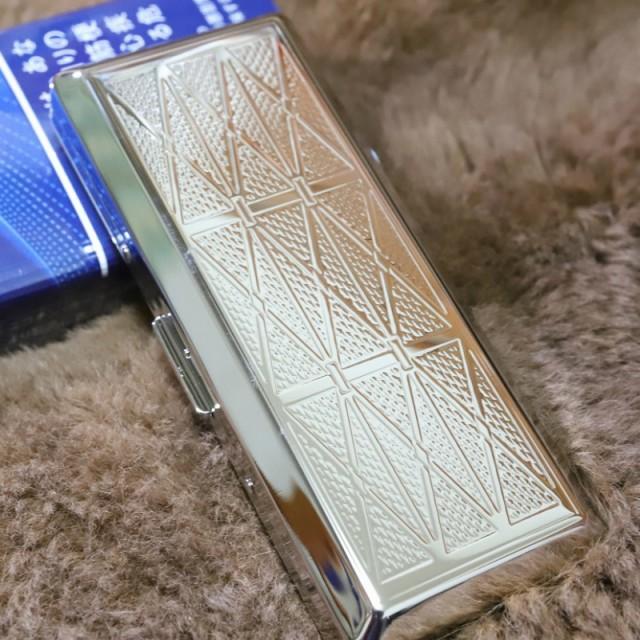 【シガレットケース シルバー スリム シンプル模様】10本ケース たばこケース 人気 の シガレットケース ロング可