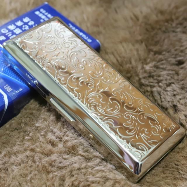 【シガレットケース シルバー スリムアラベスク】10本ケース たばこケース 人気 の シガレットケース