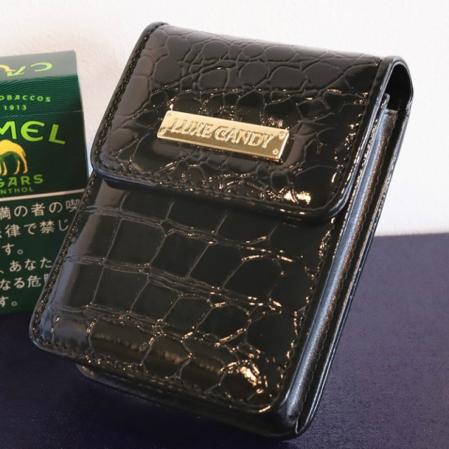 【LUXE CANDY】シガレットケース ブラック 黒 レディース 人気 ブランド シガレットポーチ たばこポーチ 女性用タバコケース 箱すっぽり