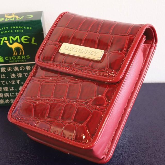 【LUXE CANDY】シガレットケース レッド 赤 レディース 人気 ブランド シガレットポーチ たばこポーチ 女性用タバコケース 箱すっぽりタ