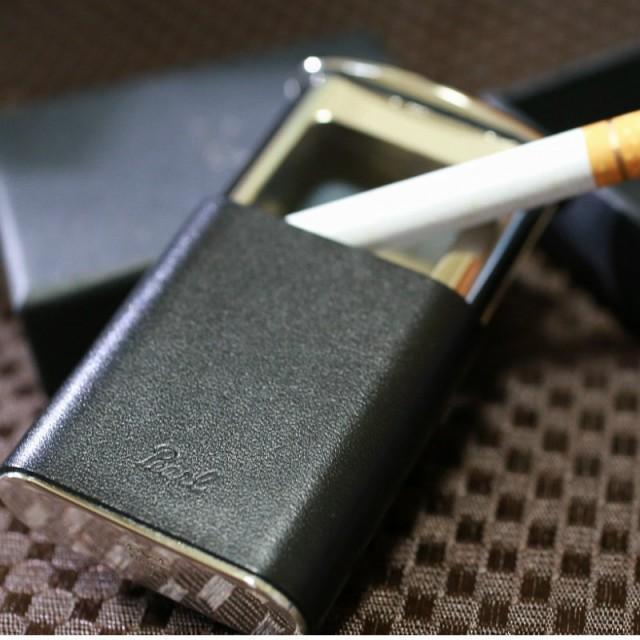 【PEARL】ブランド携帯灰皿 本革巻き仕上げ ブラック 人気 おしゃれ 上品 小物入れ プレゼント ミニサイズ 日本製 金属ケース 丈夫 ピル