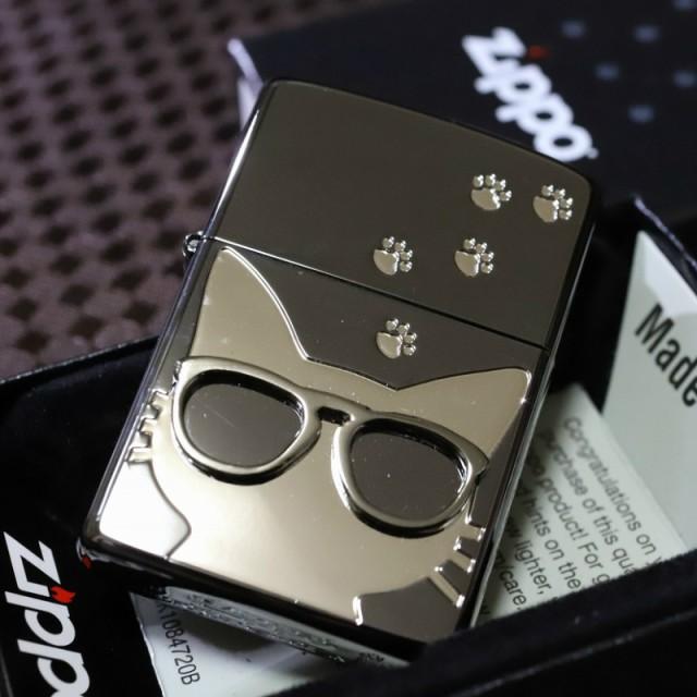 【猫ZIPPO】グラサンキャット 鏡面ブラック&シルバー 黒 銀 ジッポ ライター ブランド おすすめ 人気のジッポ プレゼント 可愛いジッポ