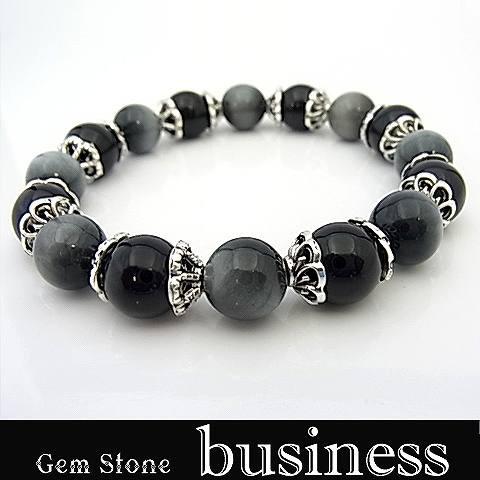 パワーストーン 天然石 ブレスレット 数珠 念珠 仕事運 ビジネス運 メタルパーツ オニキス グレータイガーアイ