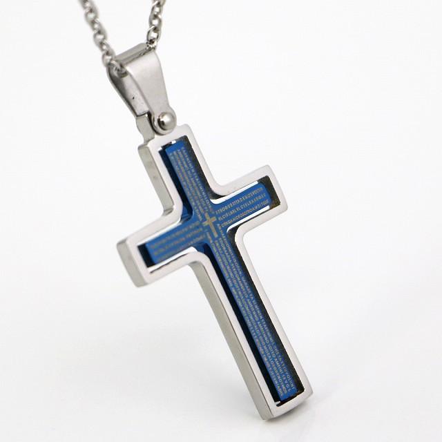 ステンレス ネックレス クロス 十字架 リバーシブル シルバー ブルー カラー【ネックレス レディース メンズ セール アクセサリー】