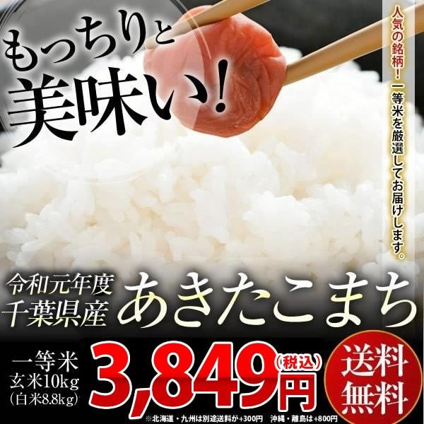 米 お米 送料無料 令和元年 千葉県産 あきたこまち 玄米 10kg (白米8.8kg)※一部地域へのお届けは別途送料が発生