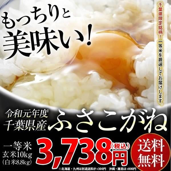 米 お米 送料無料 令和元年 千葉県産 ふさこがね 玄米 10kg (白米8.8kg)送料無料 安い ※一部地域へのお届けは別途送料が発生