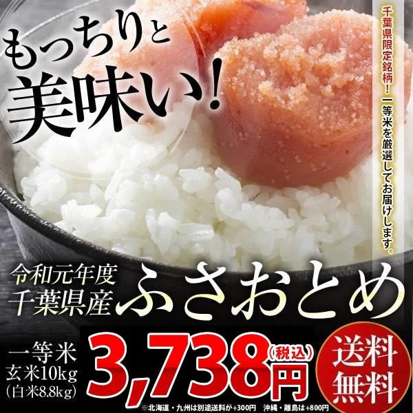米 お米 送料無料 令和元年 千葉県産 ふさおとめ 玄米 10kg (白米8.8kg)※一部地域へのお届けは別途送料が発生