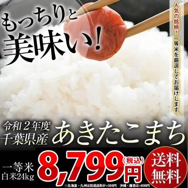 米 お米 送料無料 新米 令和2年 千葉県産 あきたこまち 白米 24kg (8kg×3袋) 【別途送料加算地域あり】