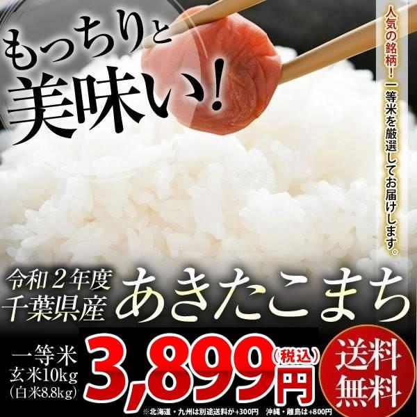 米 お米 送料無料 新米 令和2年 千葉県産 あきたこまち 玄米 10kg (白米8.8kg)※一部地域へのお届けは別途送料が発生