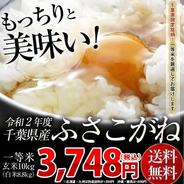 米 お米 送料無料 新米 令和2年 千葉県産 ふさこがね 玄米 10kg (白米8.8kg)送料無料 安い ※一部地域へのお届けは別途送料が発生
