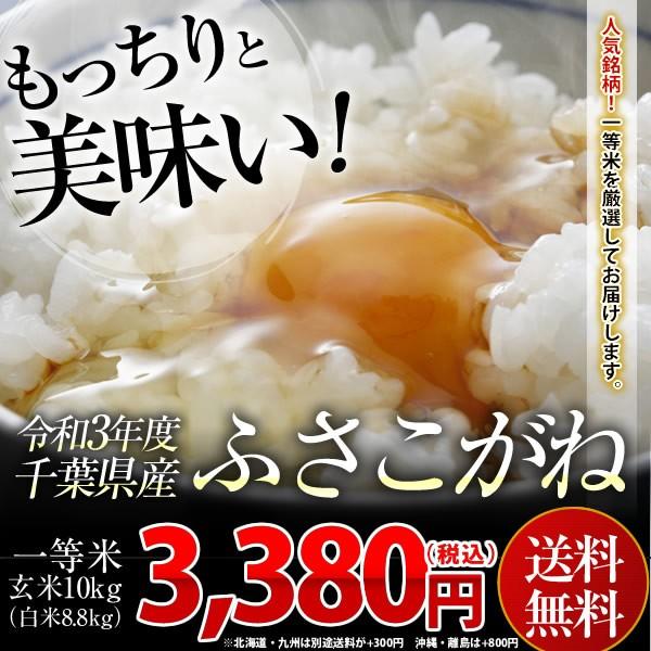 米 お米 送料無料 新米 令和3年 千葉県産 ふさこがね 玄米 10kg (白米8.8kg)送料無料 安い ※一部地域へのお届けは別途送料が発生