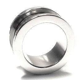 ボディピアス 20mm 定番 シンプル フレッシュトンネル (シルバー)[ハイゲージ][ボディーピアス](1個売り)◆オマケ革命◆