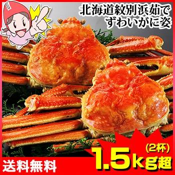 かに 蟹 ずわいがに ボイルずわいがに ◆ 北海道紋別浜茹で ずわい蟹姿 1.5kg超 (2杯) / 姿 丸ごと かにみそ 蟹味噌 殻付き ボイル済み